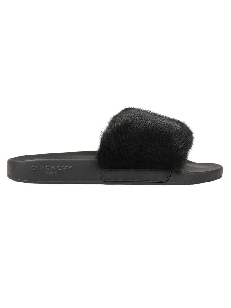 Givenchy Mink Fur Amp Rubber Slide Sandal Black Modesens