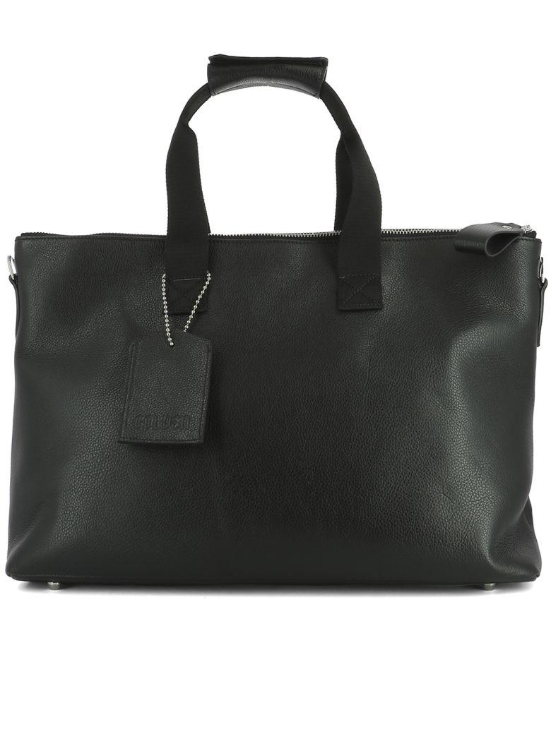 GOLDEN GOOSE Black Leather Travel Bag