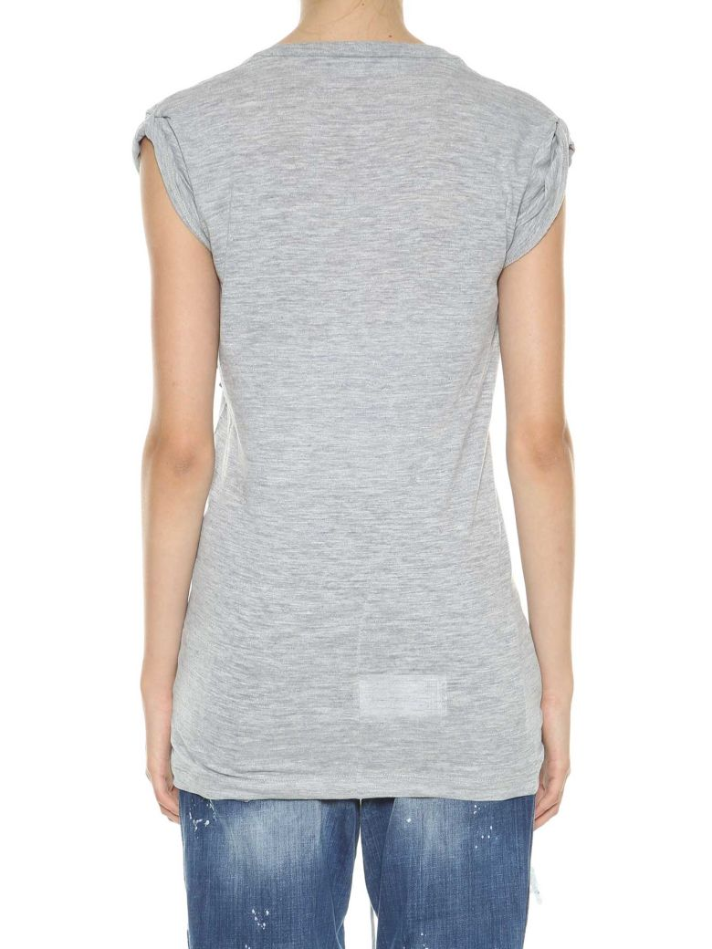 DSQUARED2 ASYMMETRIC TWISTED T-SHIRT, GREY