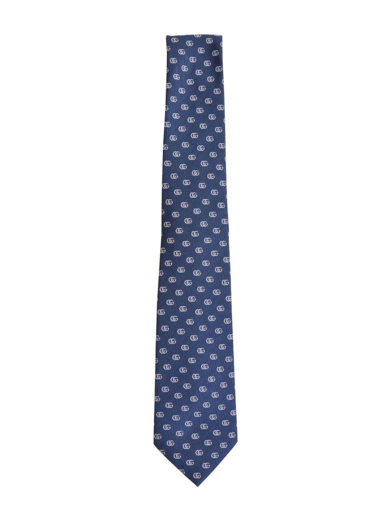 Double G Pattern Silk Tie in Navy