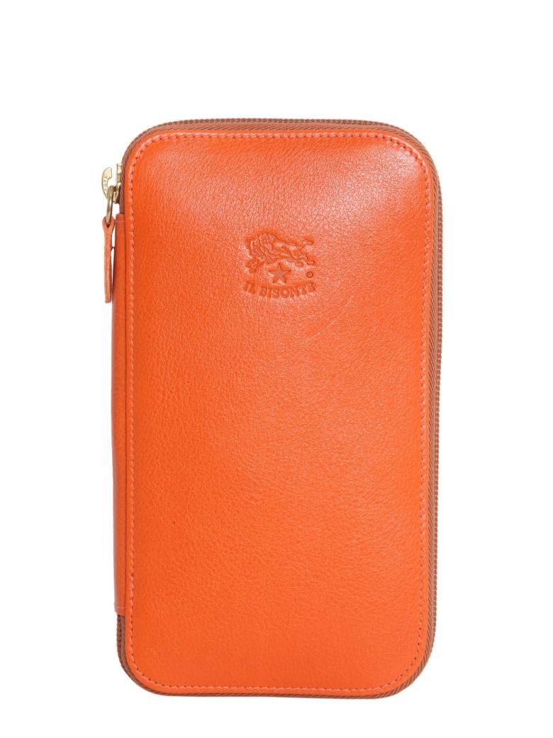 IL BISONTE Zip Around Wallet in Orange