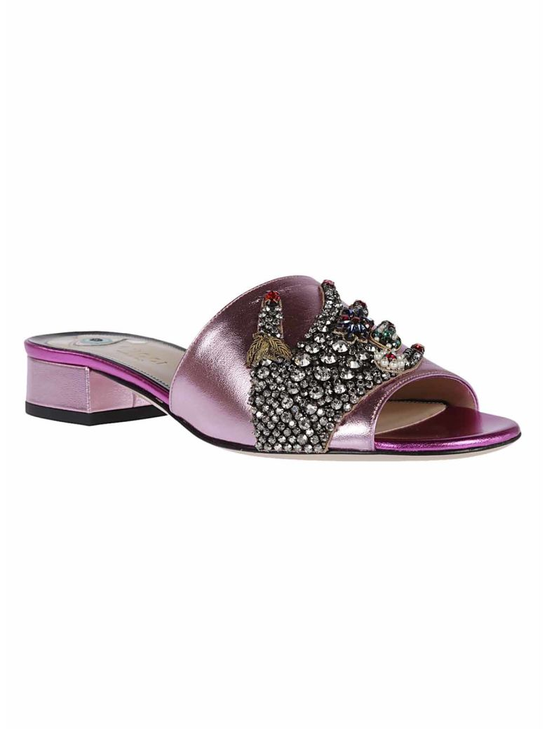 GUCCI Crystal Hand Applique Sandals in Rosa