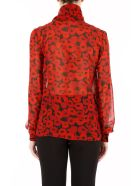 Georgette Blouse With Red Poppies Print