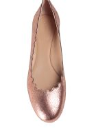 Chloé Lauren Scalloped Cracked-metallic Leather Ballet Flats
