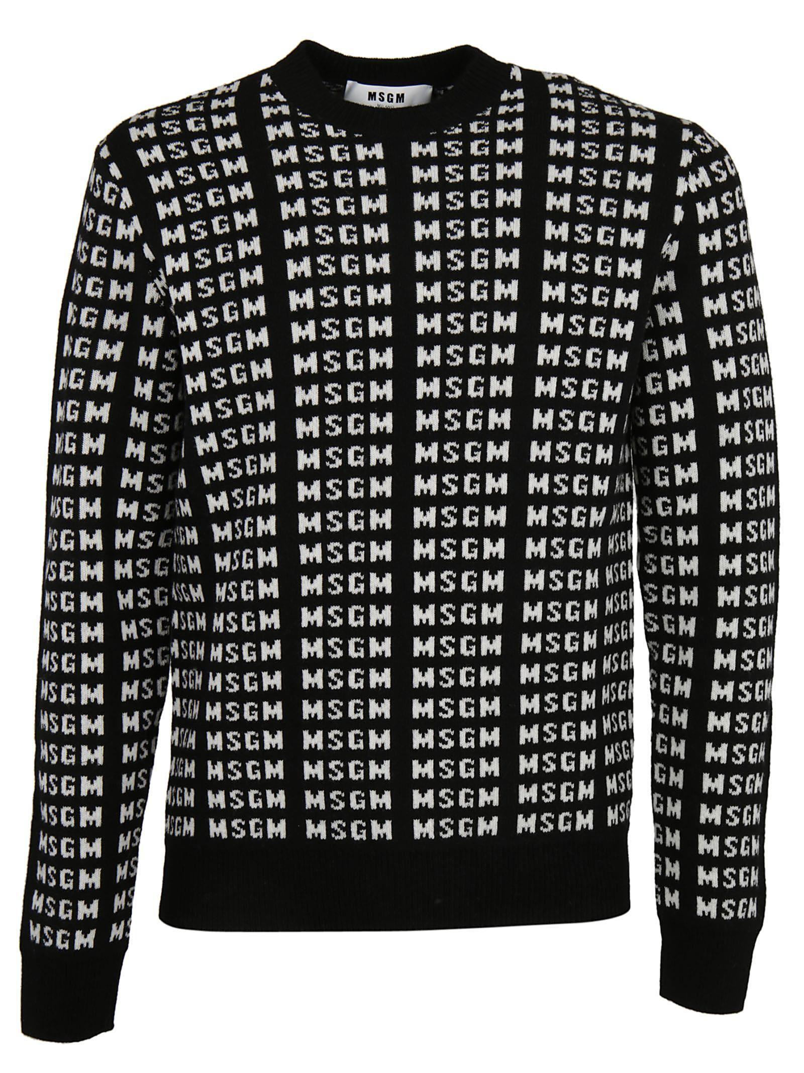 MSGM - Msgm All Over Logo Sweater - BLACK/WHITE, Men's Sweaters ...