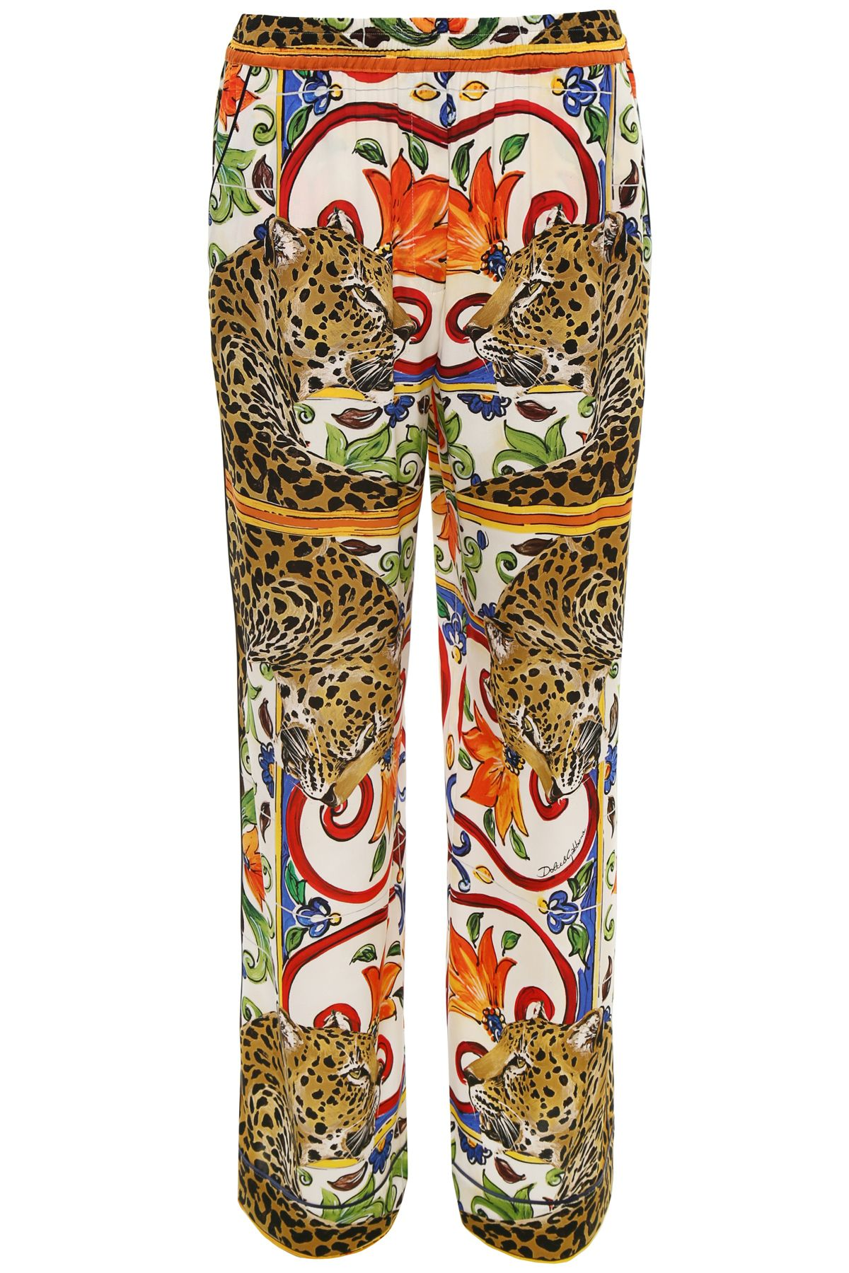 Maiolica And Leopard Print Trousers