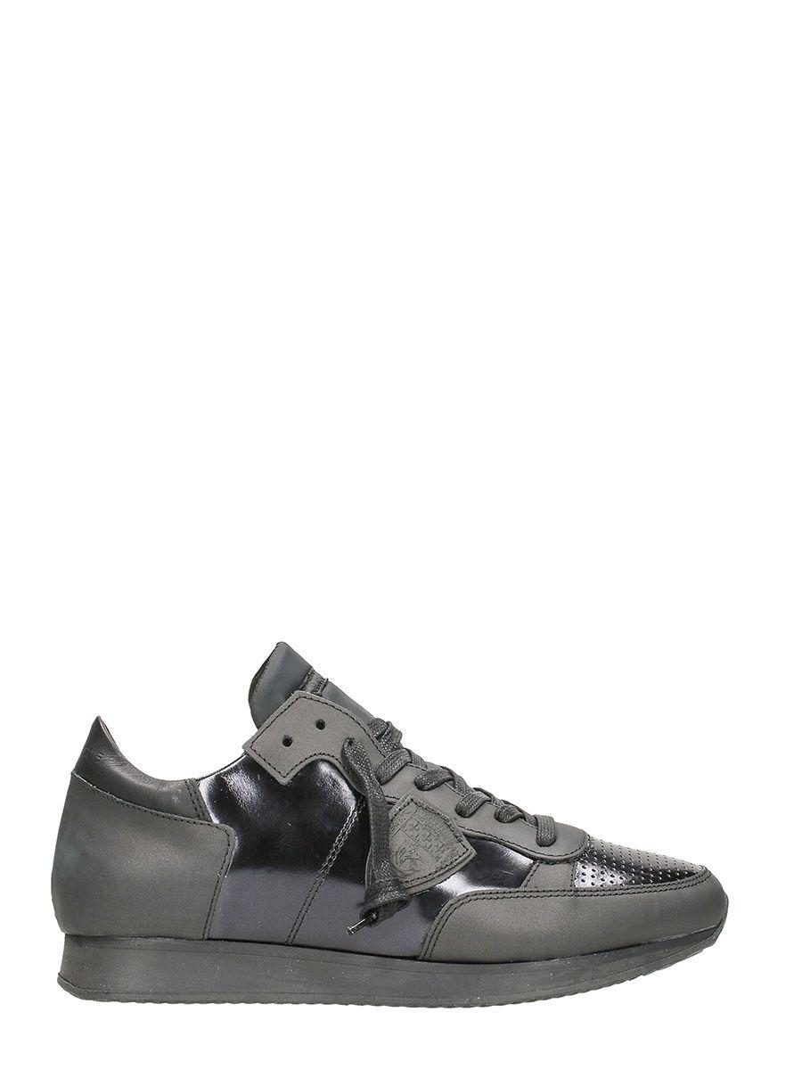 Philippe Model Tropez Sculpte Metal Noir Sneakers