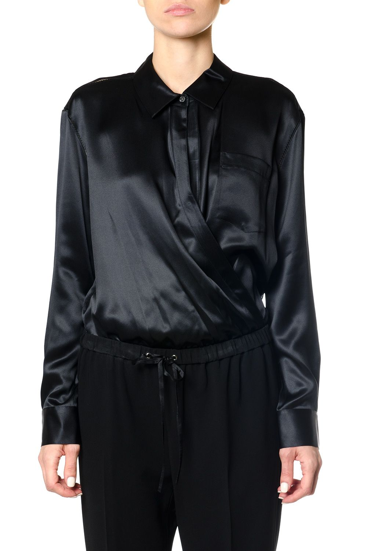 Alexander Wang Silk Charmeuse Long Sleeve Wrap Shirt Bodysuit