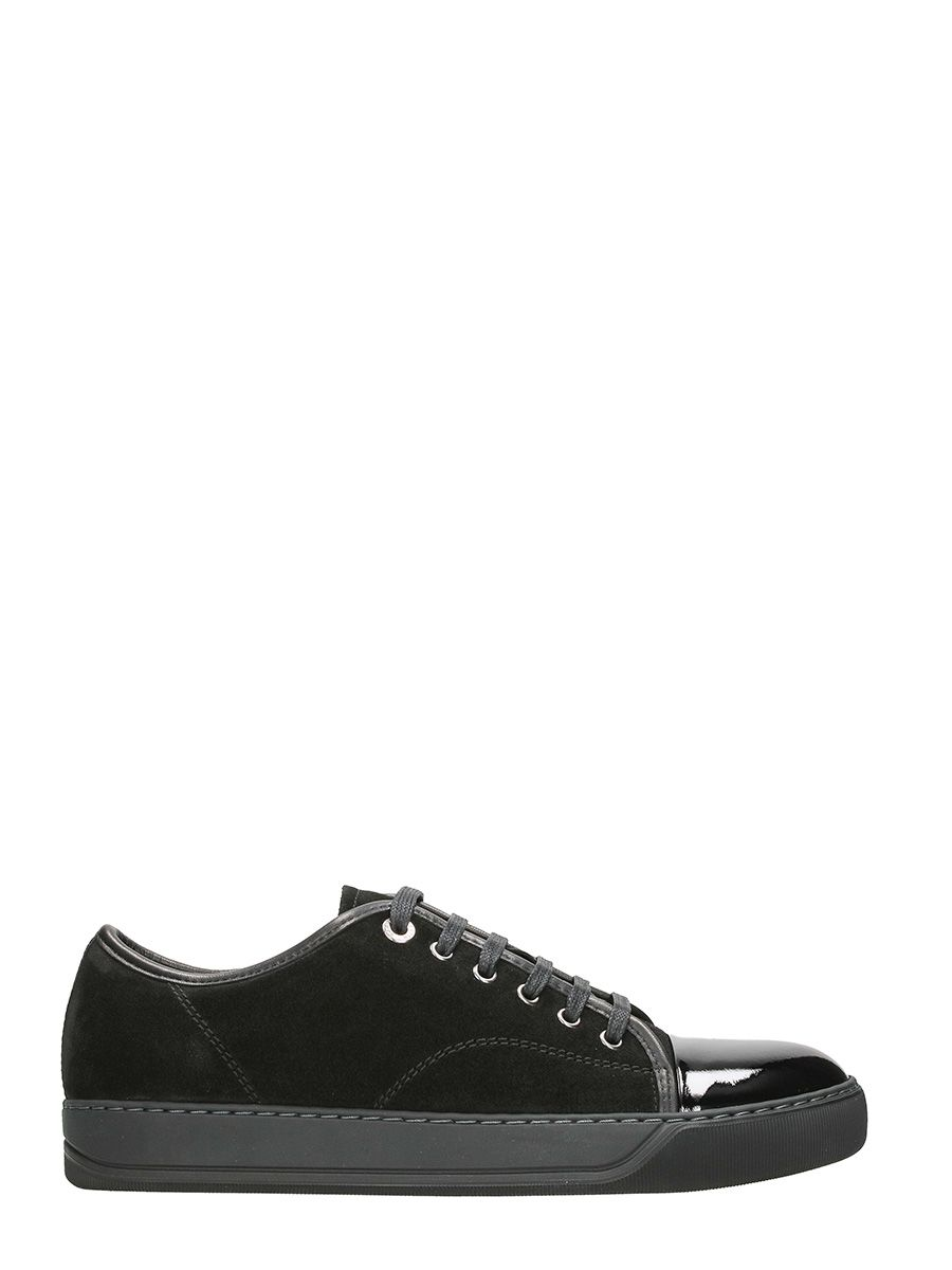 Lanvin Toe Cap Black Suede Sneakers