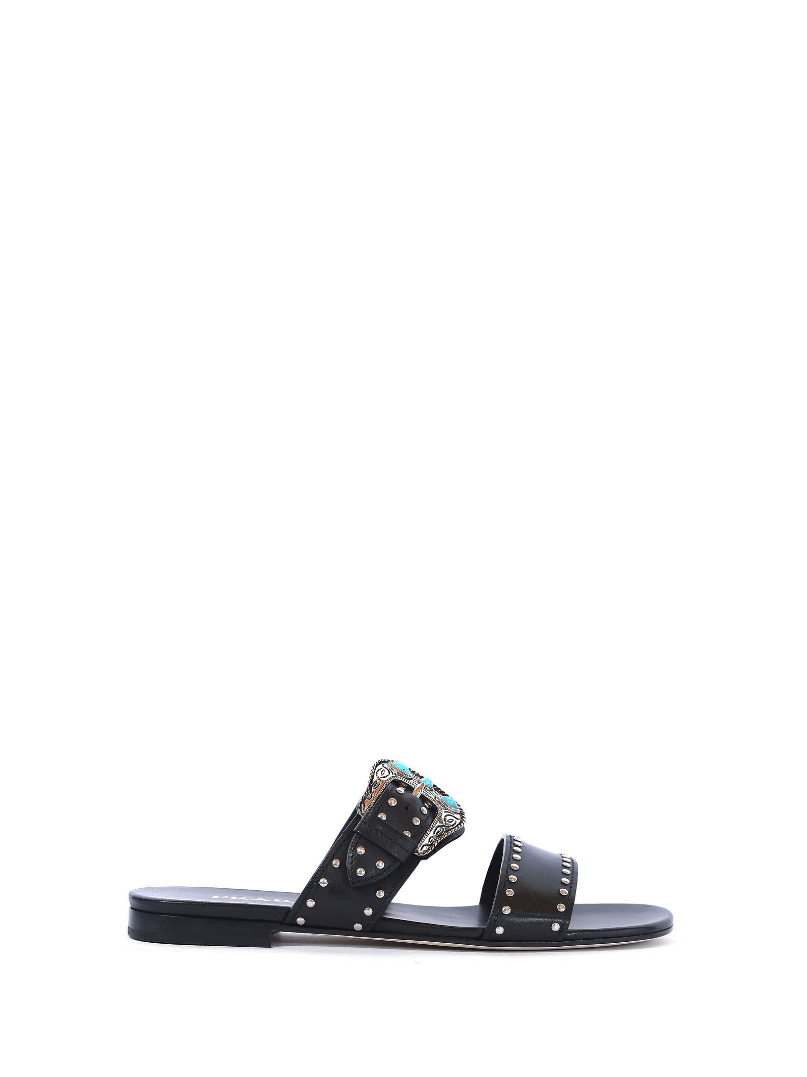 Prada Soft Calf Flat Sandal