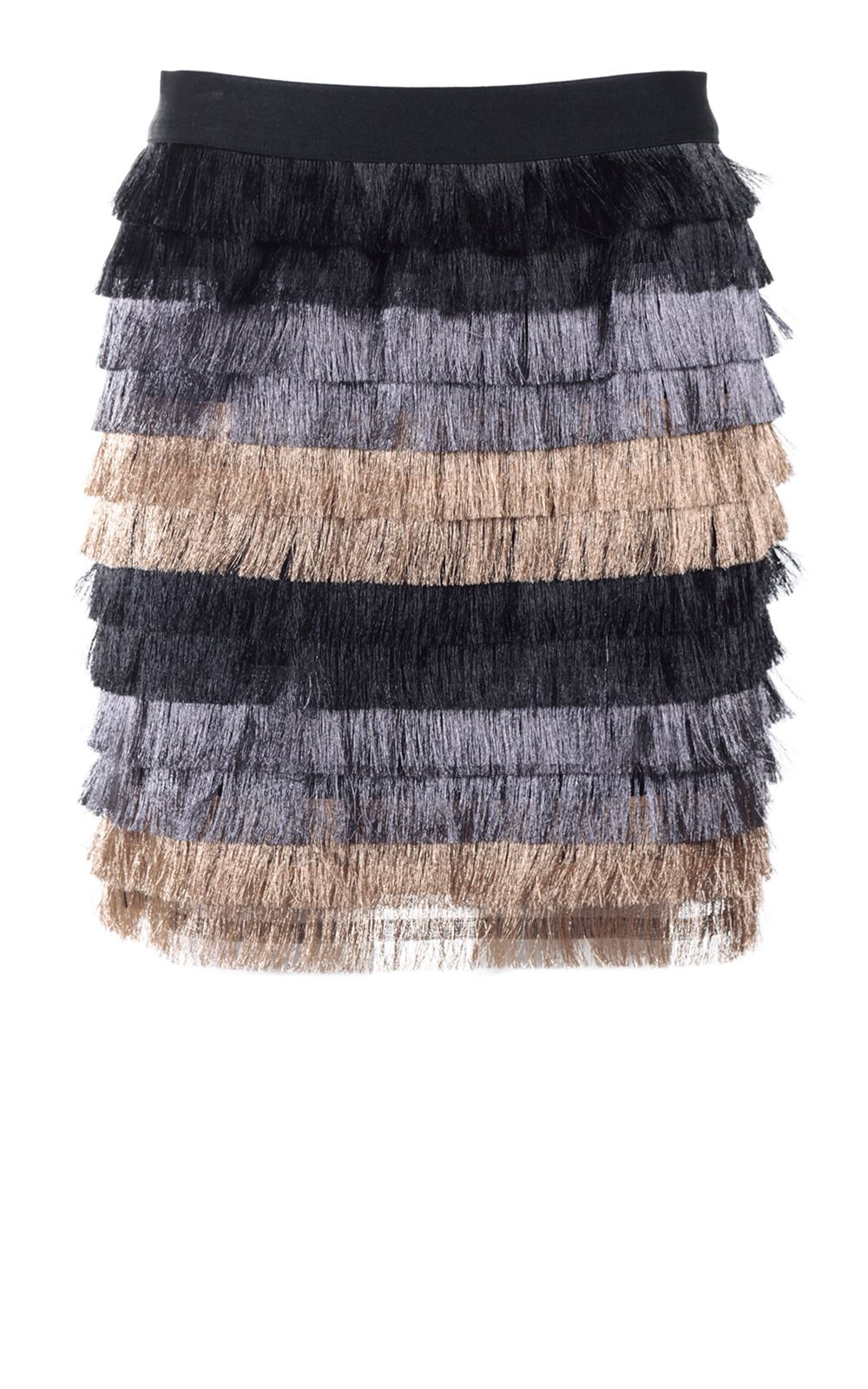 Bcbg Max Azria Christal Metallic-fringe Mini Skirt