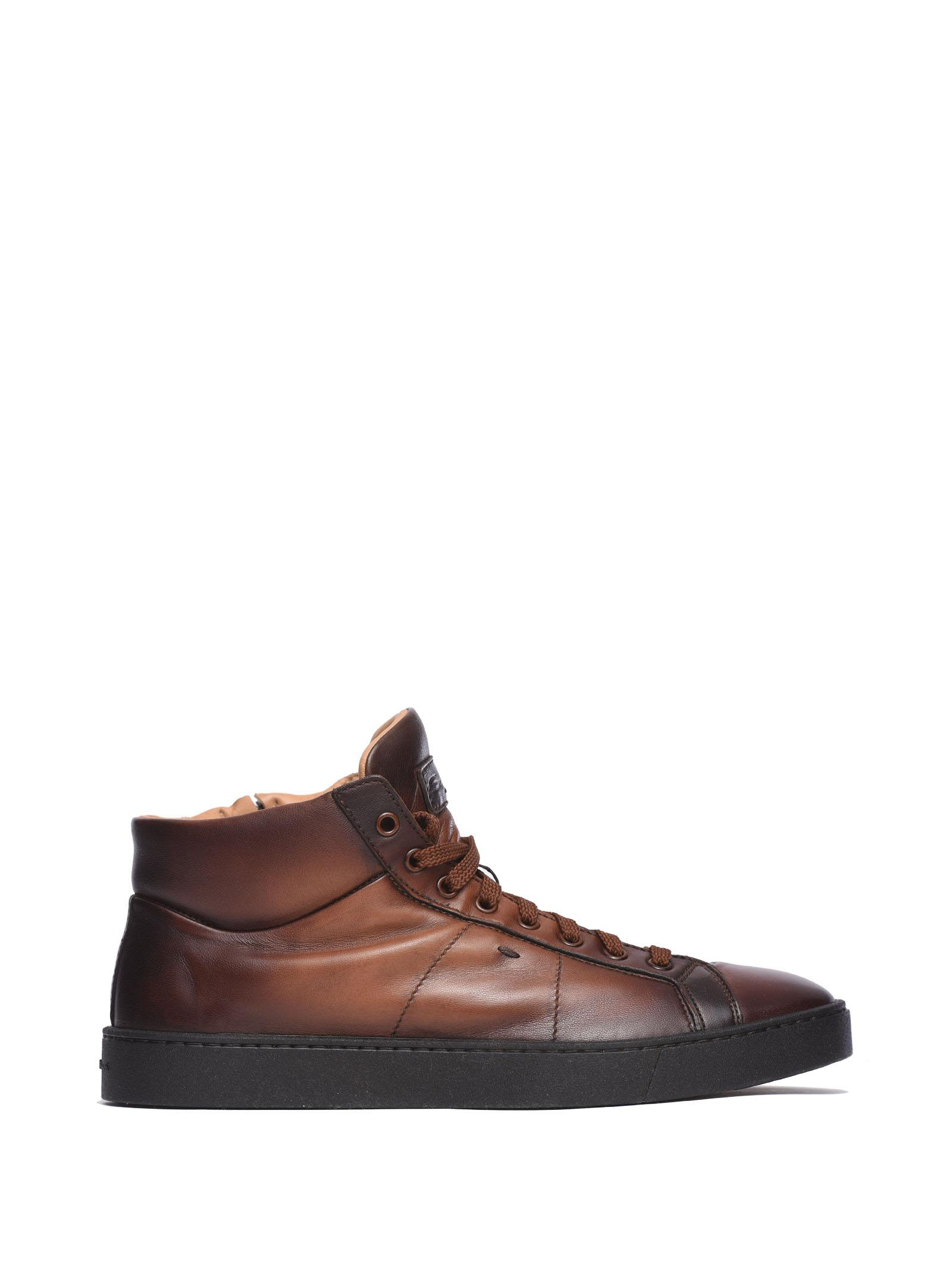 Santoni Nappa High-top Sneakers Brown