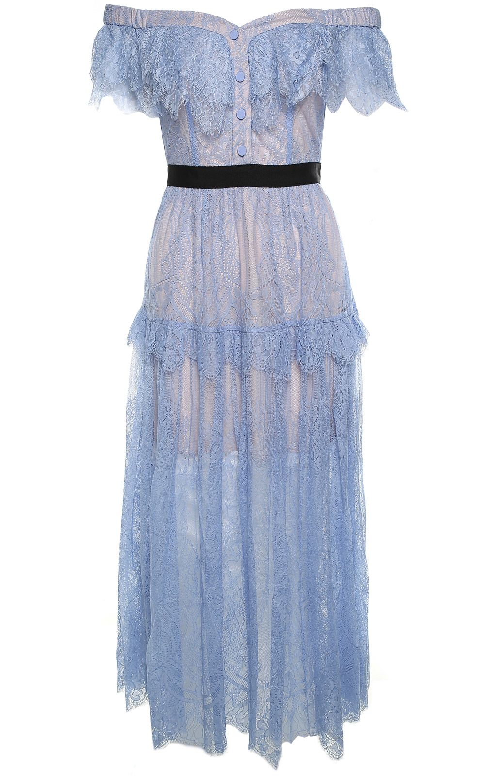 self-portrait Off-the-shoulder Floral-embroidered Fine-lace Maxi Dress
