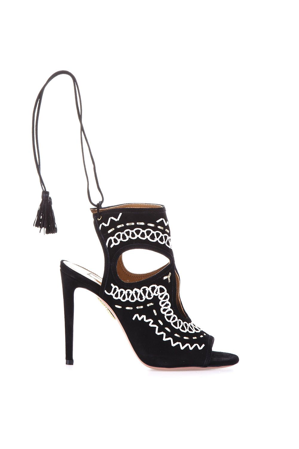 Aquazzura Sexy Thing Folk Embroidered Suede Sandals