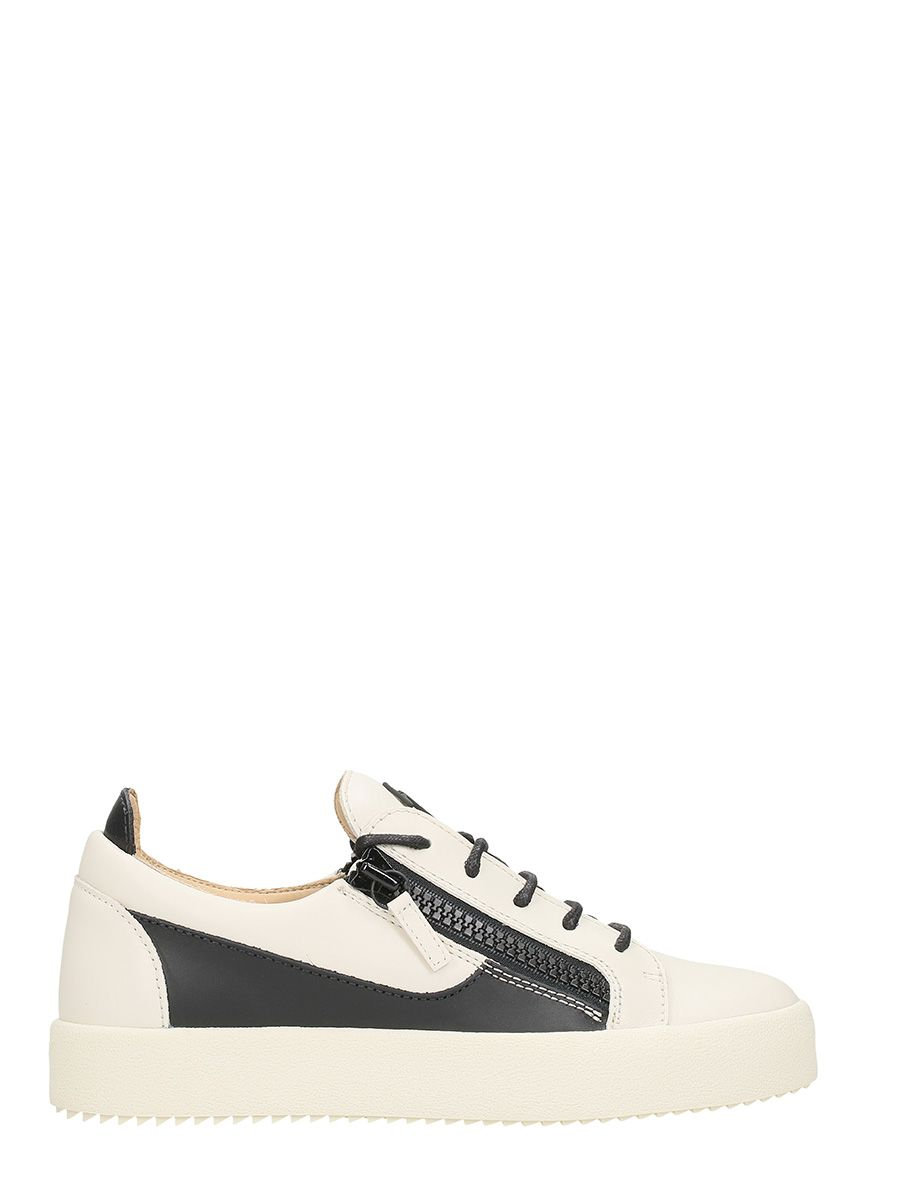 Giuseppe Zanotti Frenkie White And Black Leather Sneakers