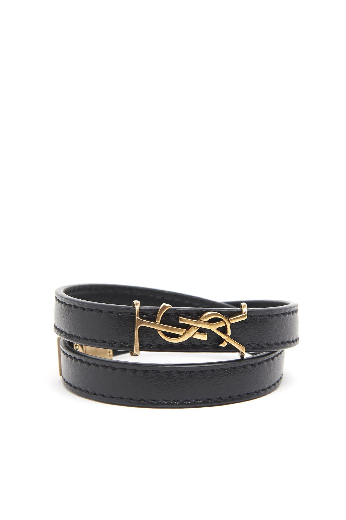 a8215572bd2 SAINT LAURENT YSL DOUBLE WRAP BRACELET IN BLACK LEATHER AND LIGHT BRONZE-TONED  METAL