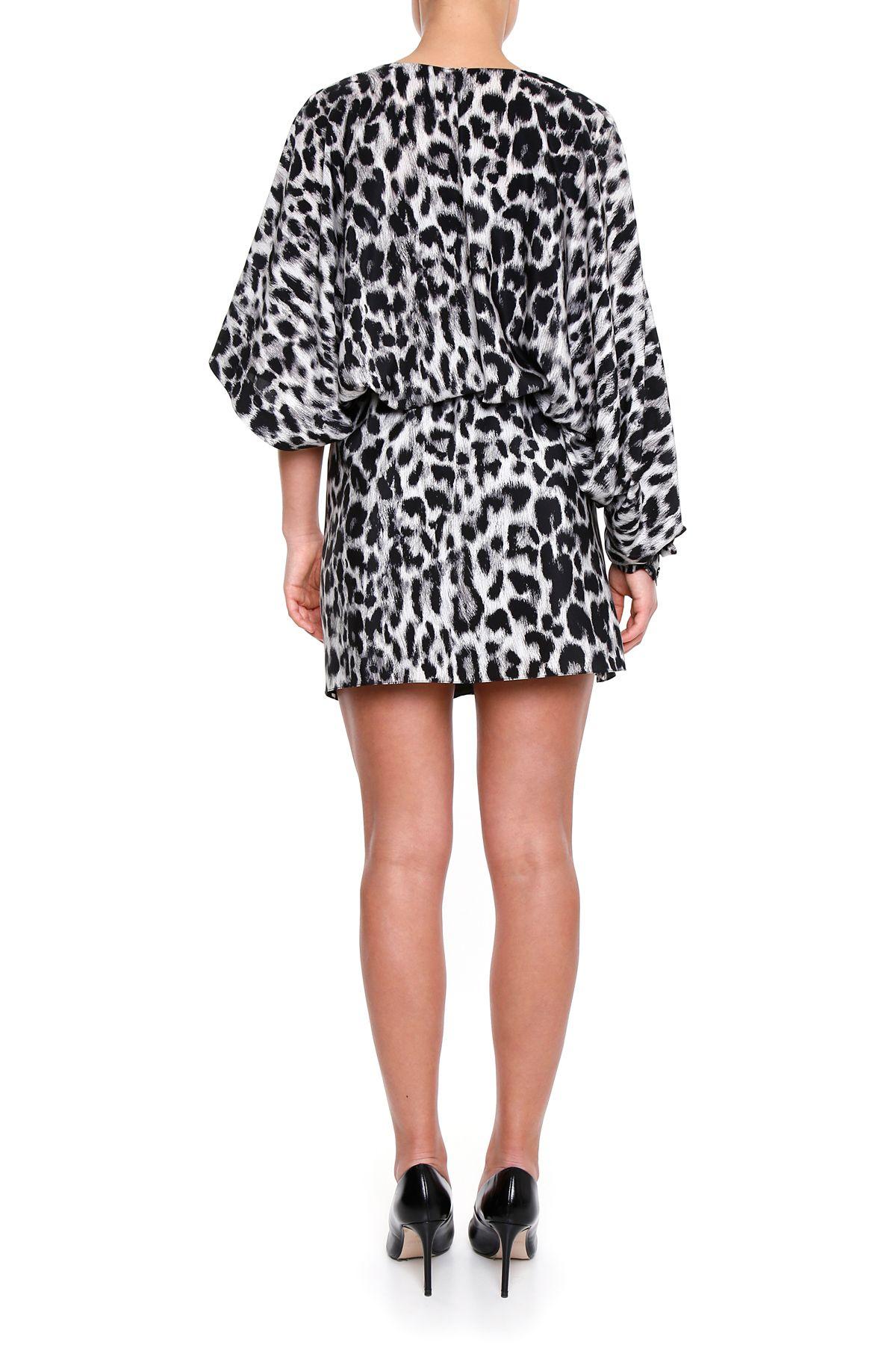 saint laurent leopard crepe de chine dress 465794 y368q 1073 women 39 s dresses italist. Black Bedroom Furniture Sets. Home Design Ideas