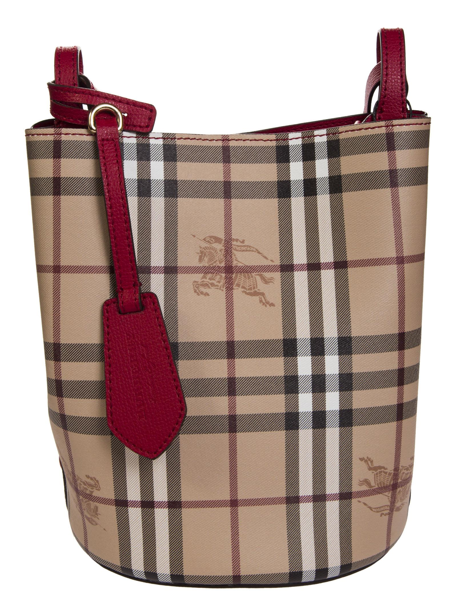 81a04cfea9b8 BURBERRY SMALL HAYMARKET CHECKED BUCKET BAG