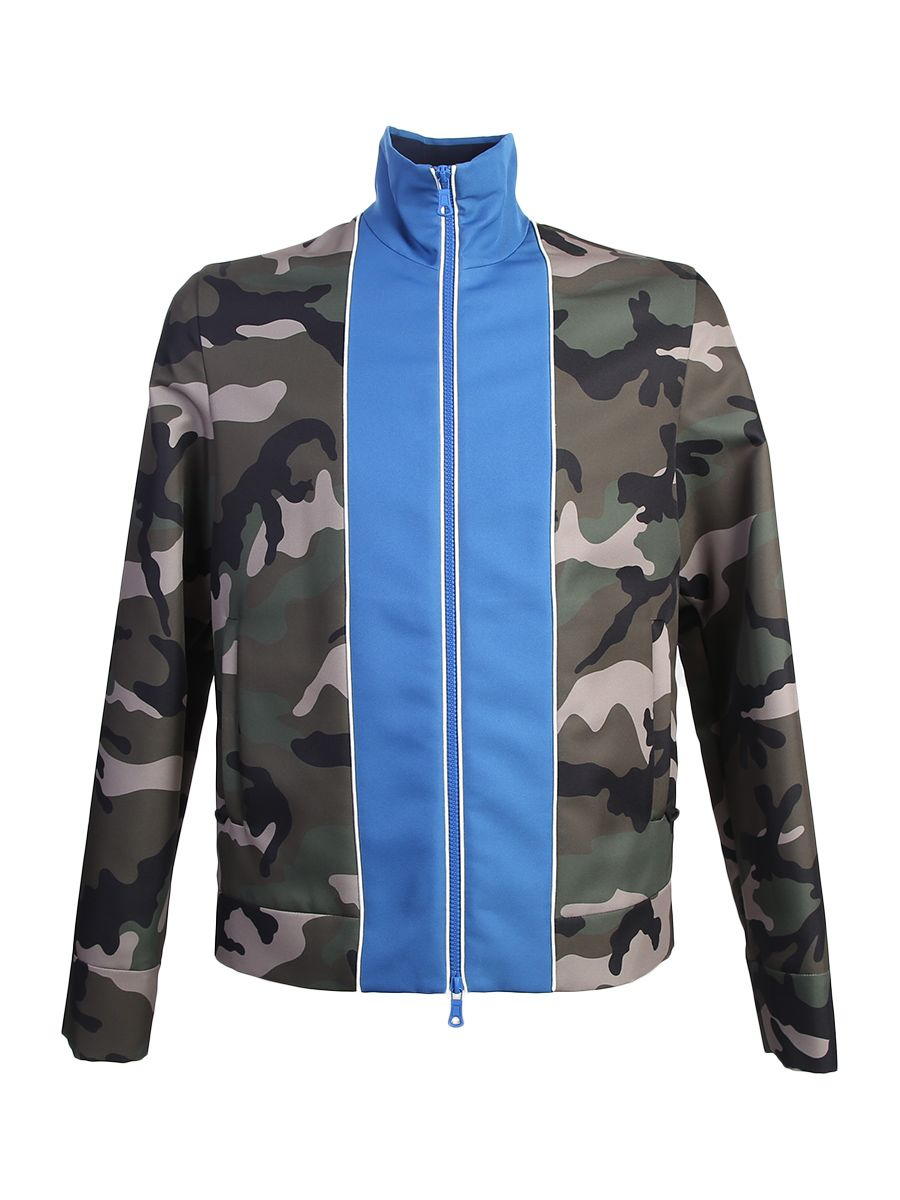 Camouflage Acetate Jacket With Front Blue Detail