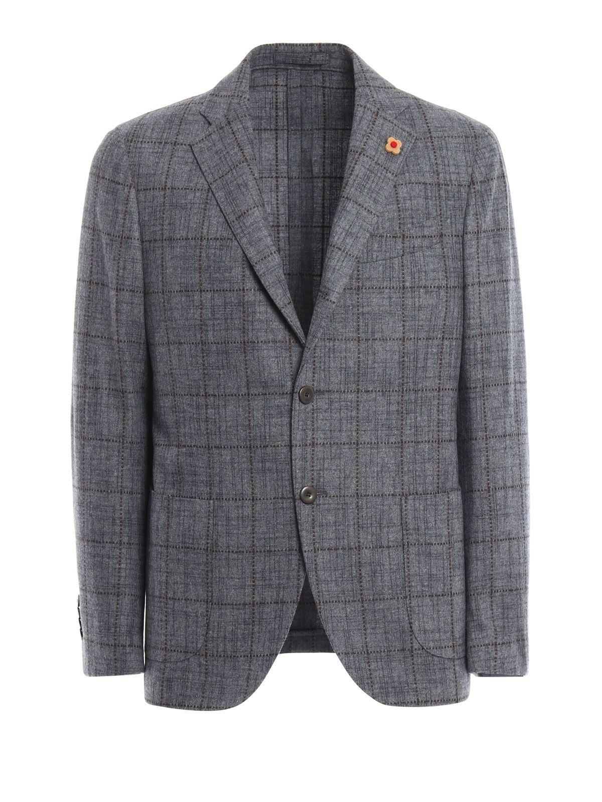 Lardini Checked Wool Blend Blazer