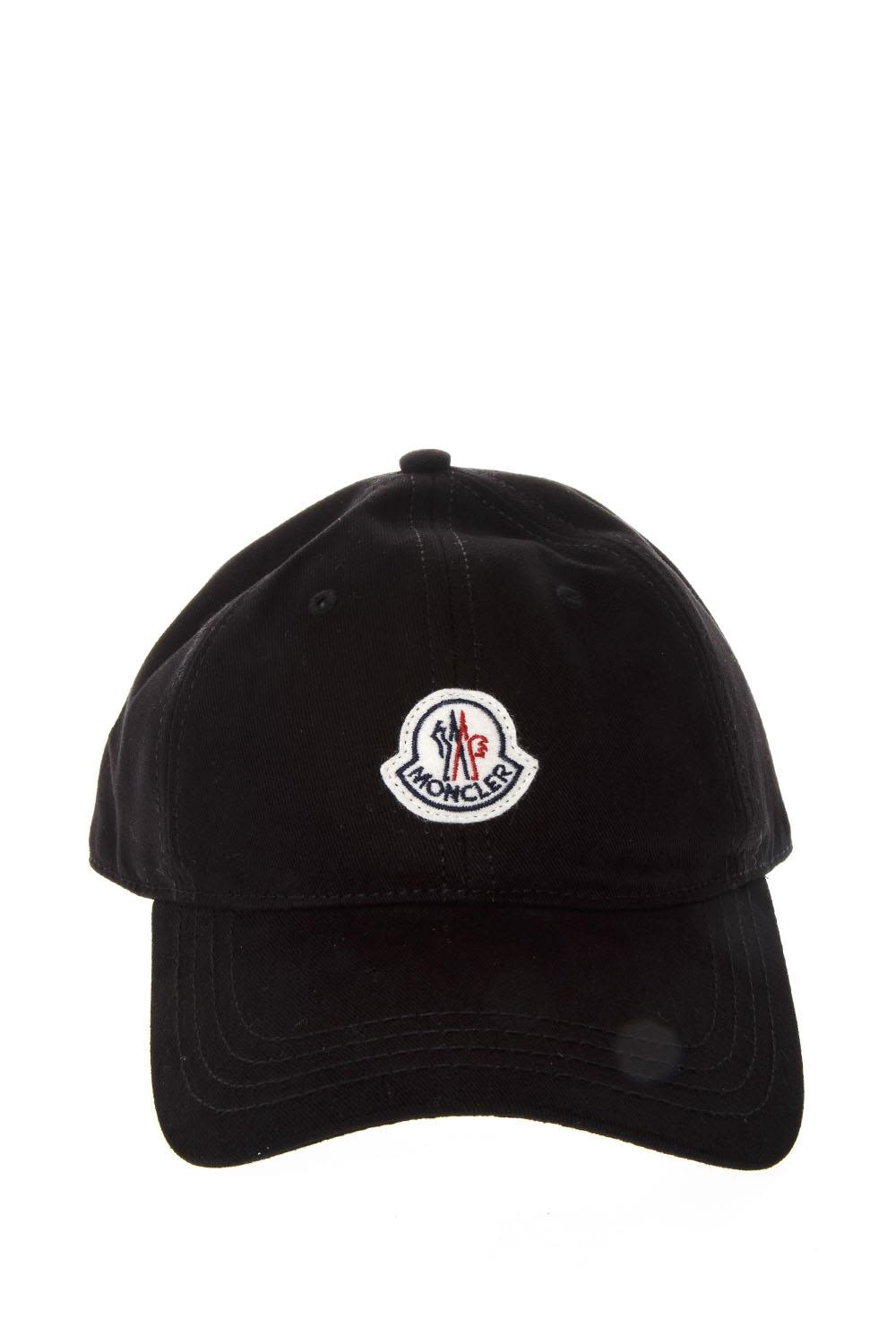 Moncler Black Baseball Hat With Logo Patch