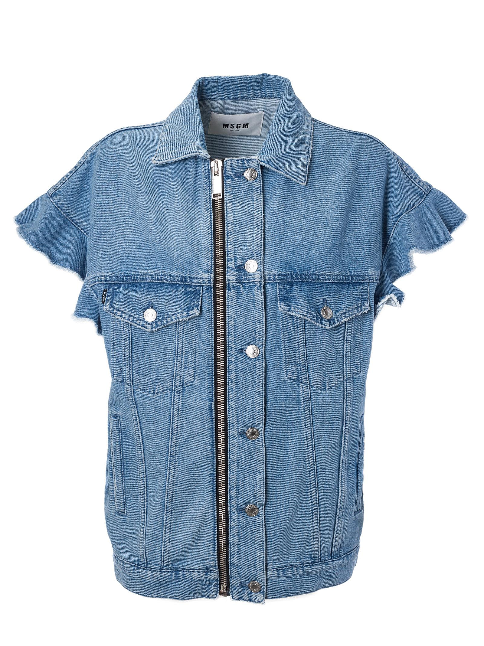 Msgm Ruffle Sleeve Denim Shirt