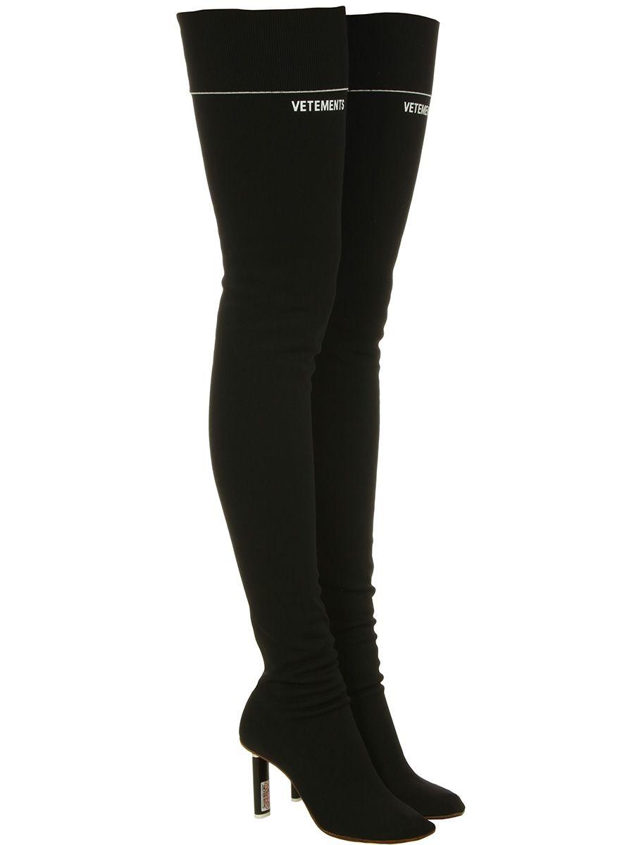 VETEMENTS Thigh High Sock Black Boots