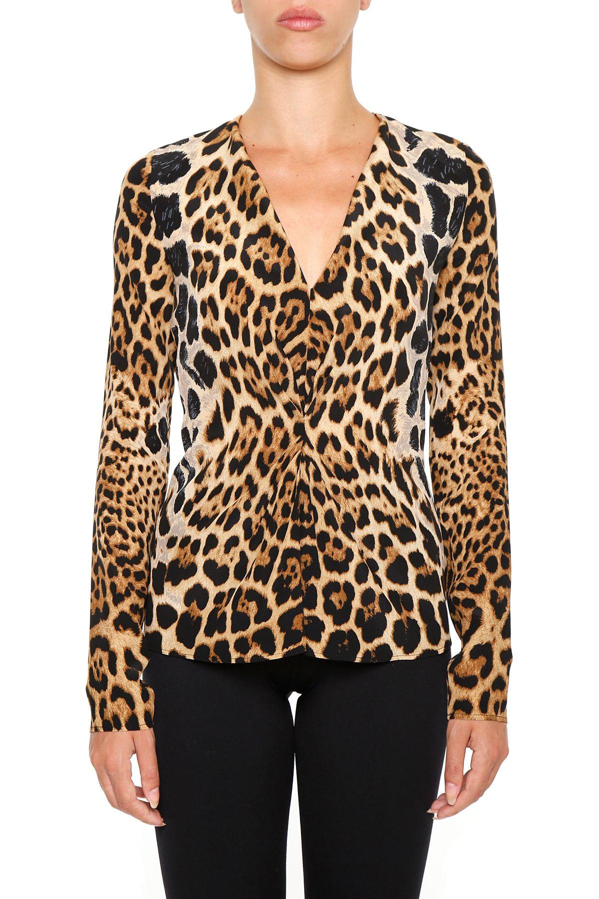 Leopard Print Crepe Top