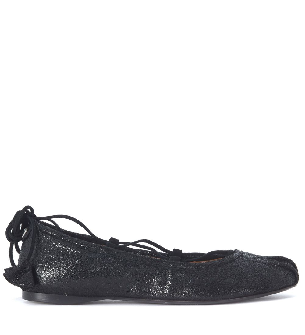 Twin-set Black Leather Flat Shoe