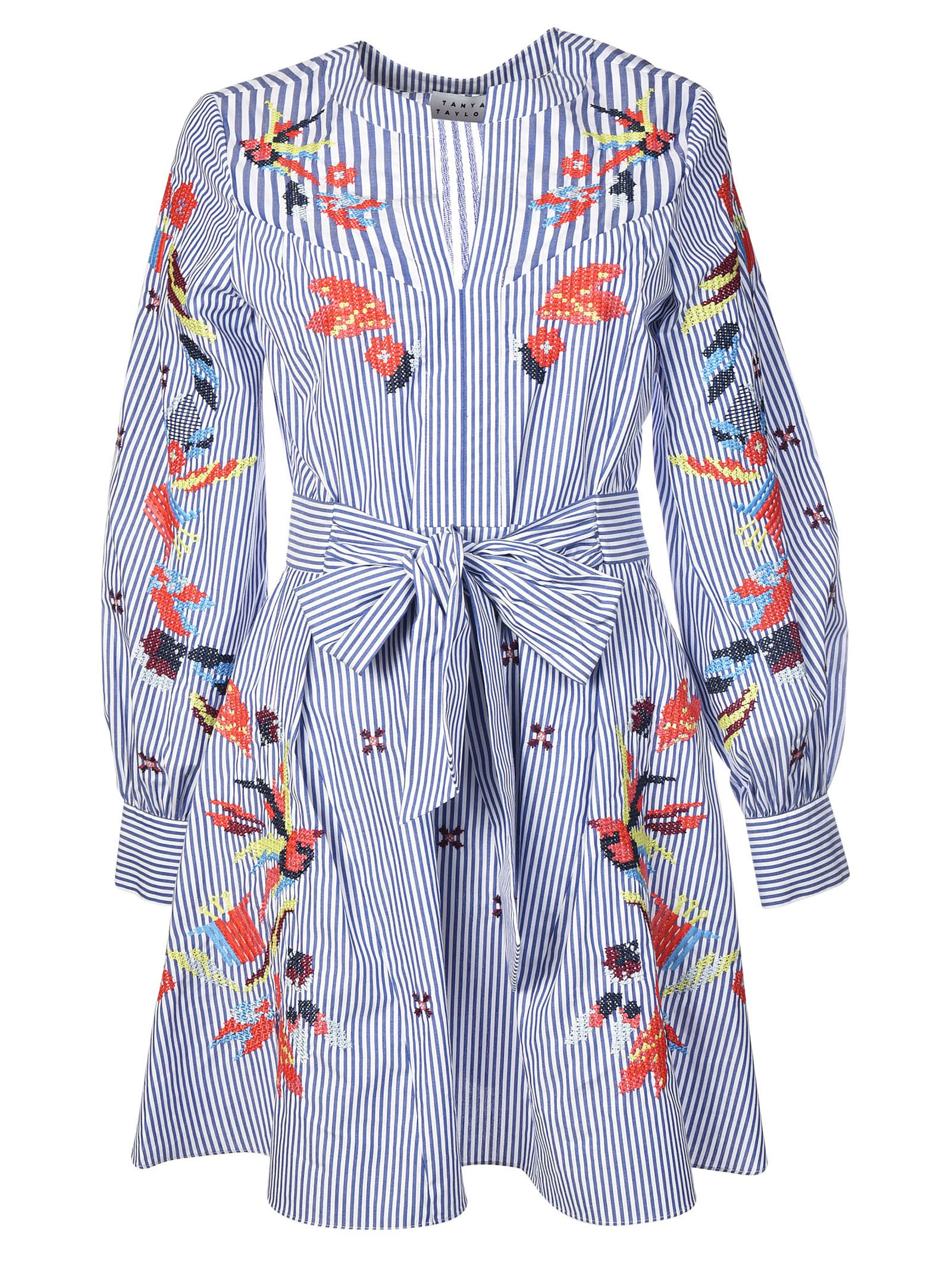 Tanya Taylor Embroidered Stripe Caro Dress