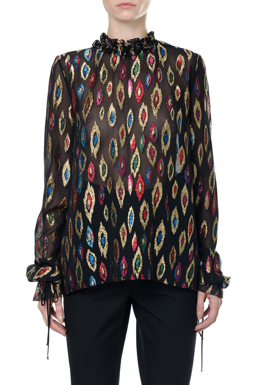 Saint Laurent Silk Blouse With Multicoloured Lurex