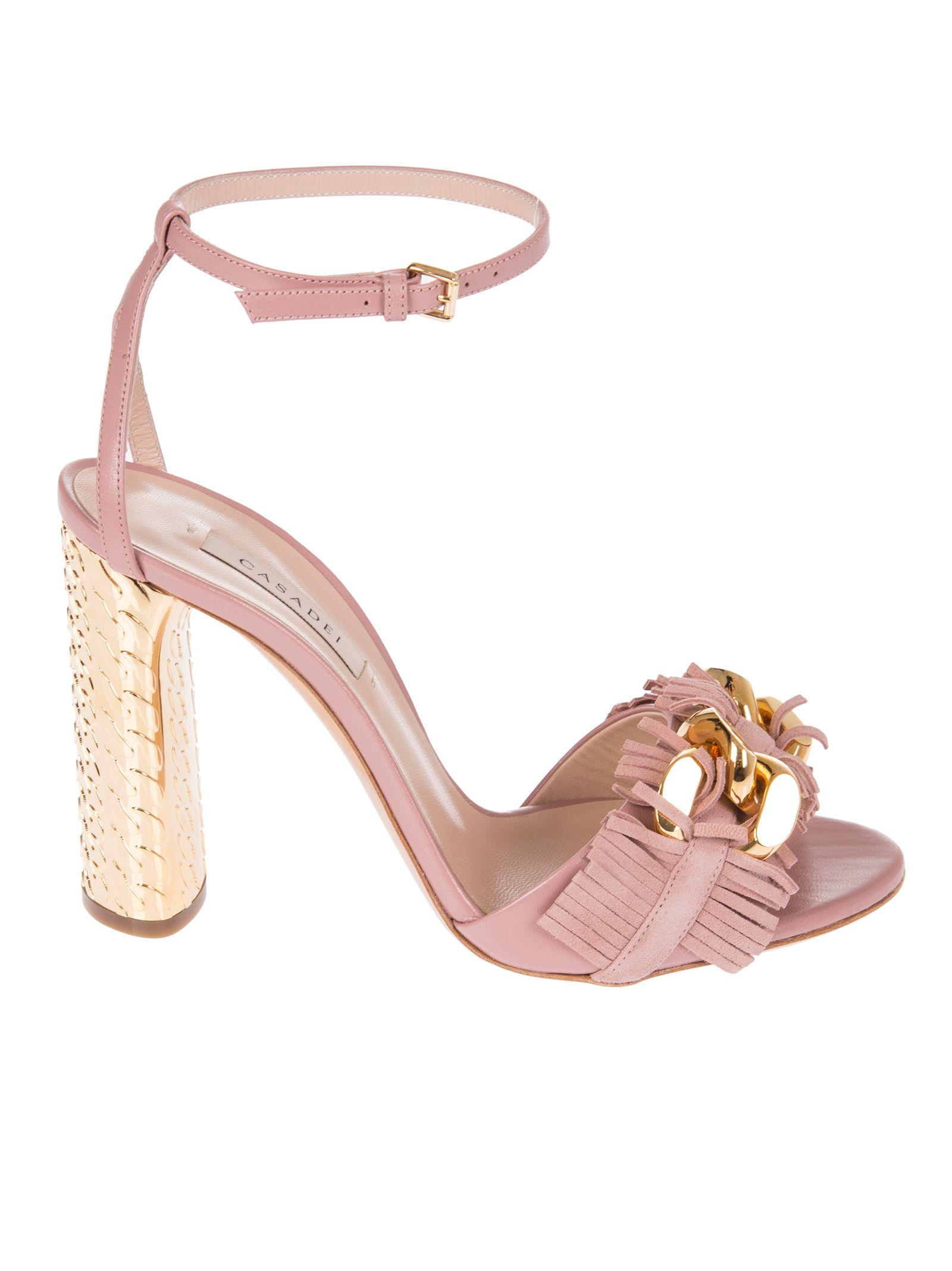 Casadei Frayed Block Heel Sandals