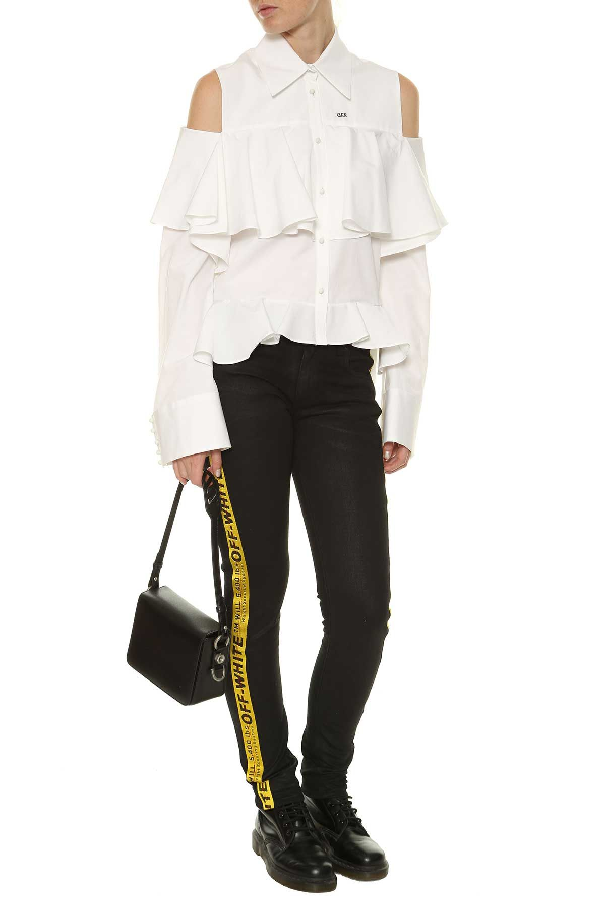 Off-white Cold Shoulder Shirt With Frills
