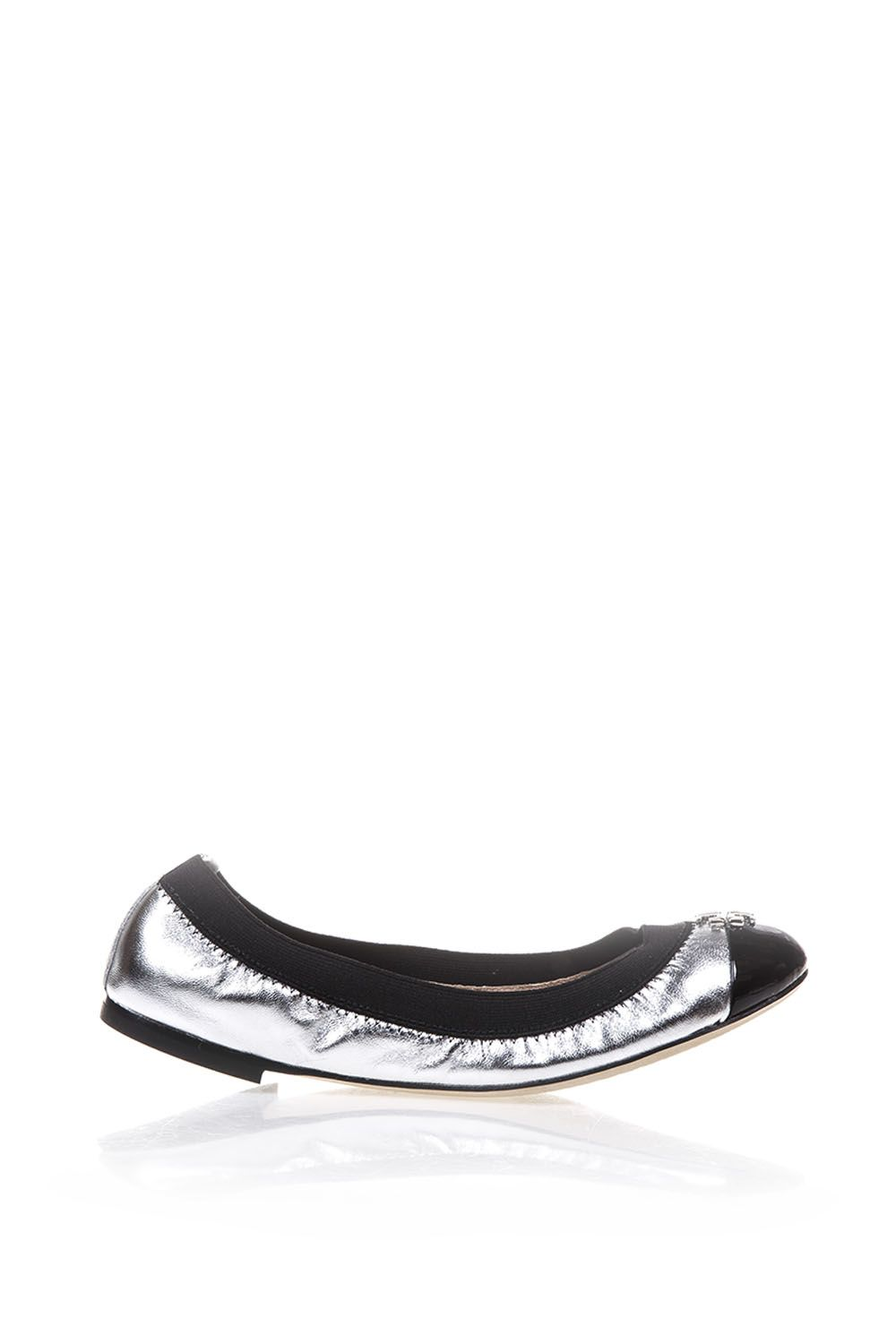 Tory Burch Jolie Metallic Leather Ballerinas