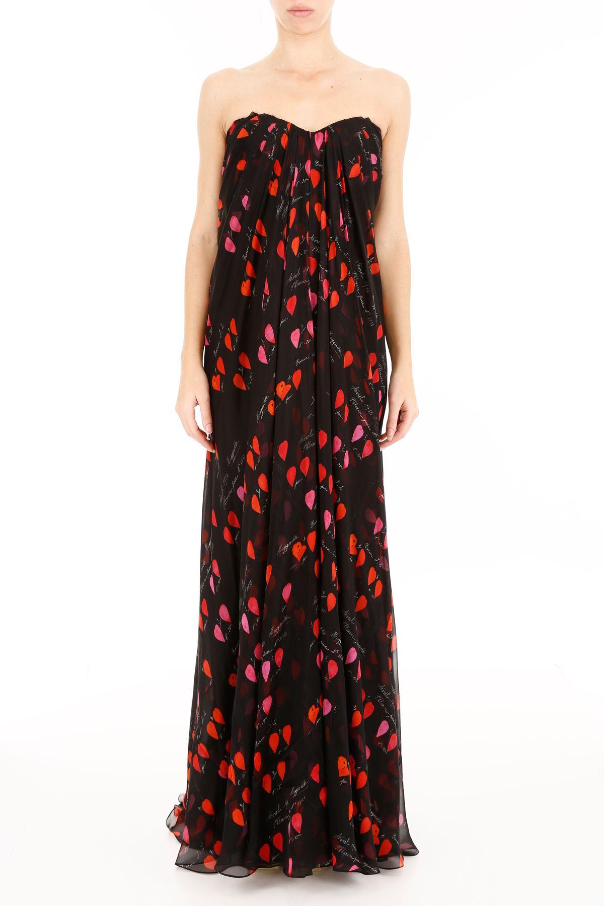 Alexander Mcqueen Silks LONG CHIFFON DRESS WITH PETAL PRINT