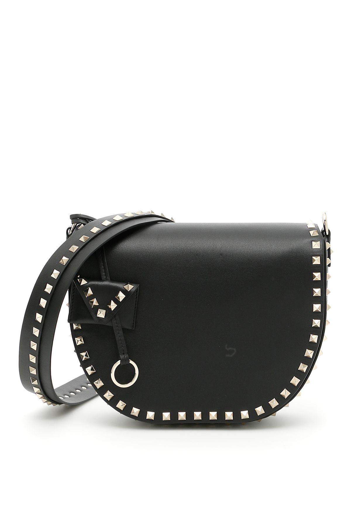 Rockstud Leather Shoulder Bag in Black