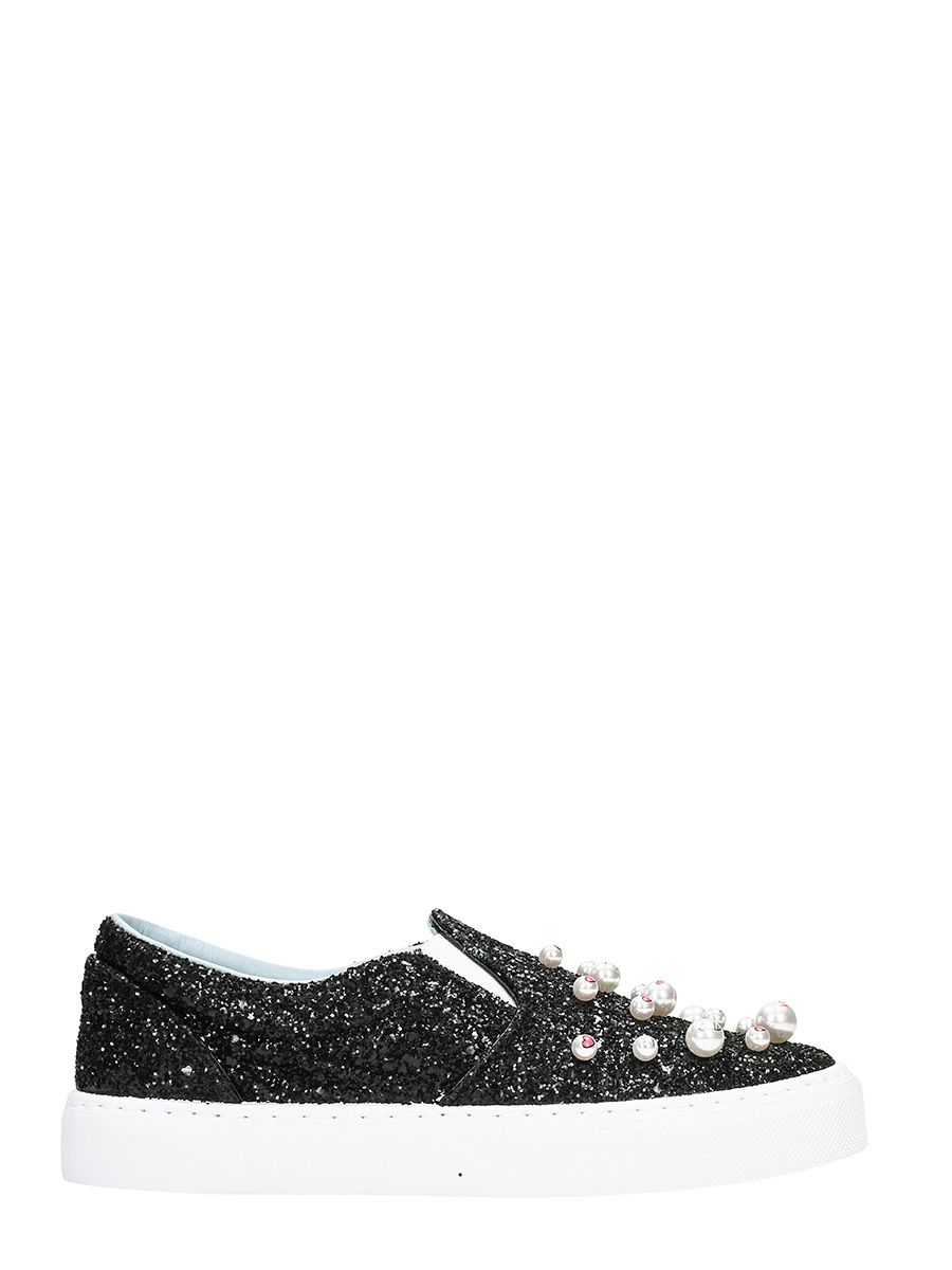 Chiara Ferragni Black Glitter Candy Slip On