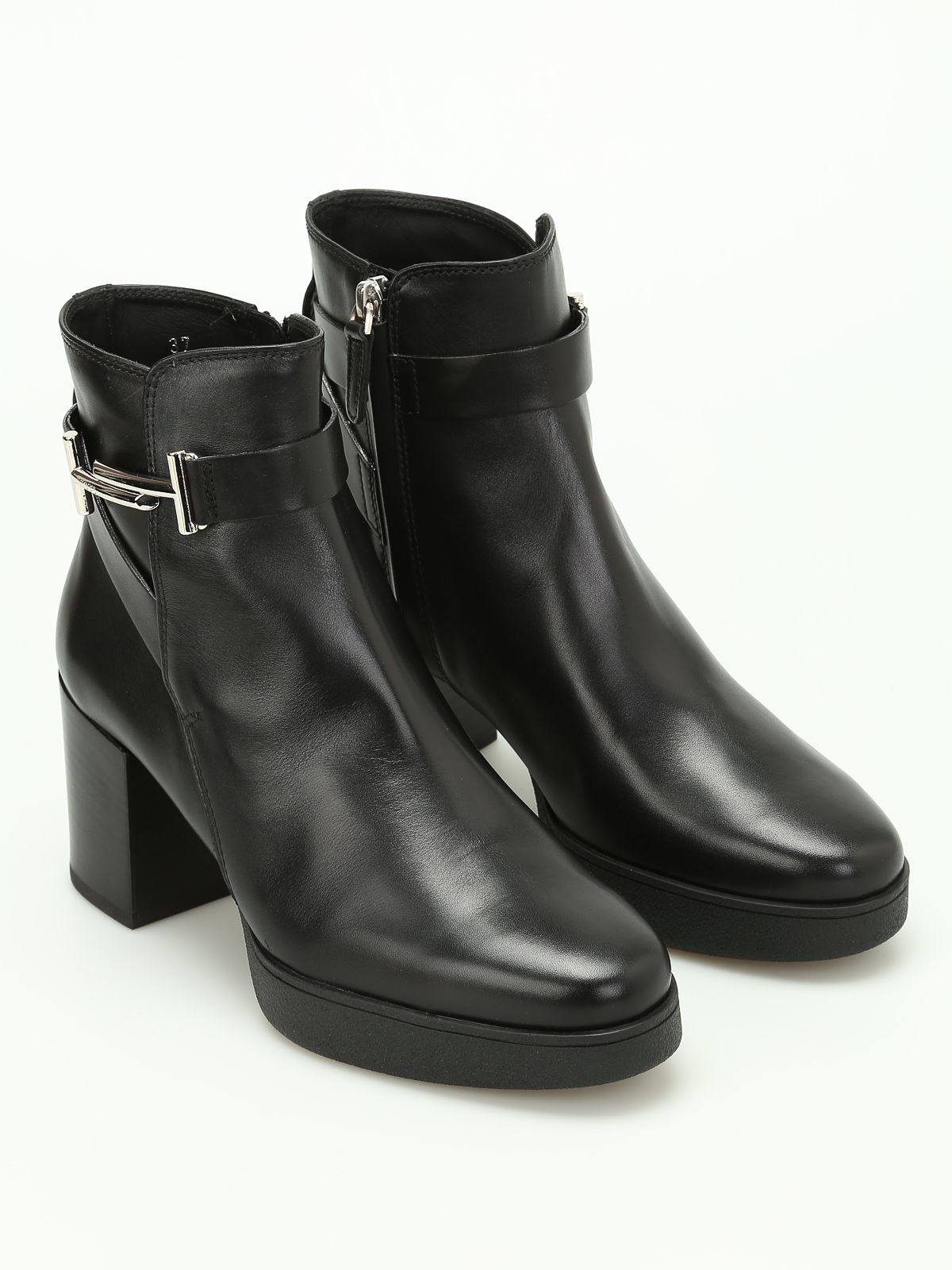 Double T Leather Ankle Boots