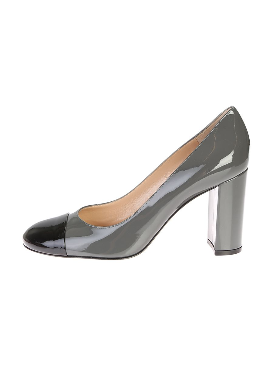 Grey Patent Leather Langley Pump Shoes With Black Toe Cap