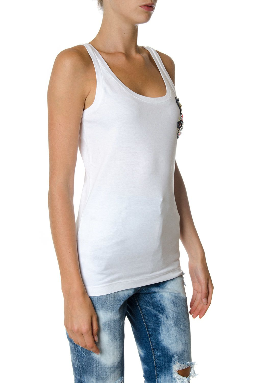 Dsquared2 Patch Emboidered Cotton Tank Top