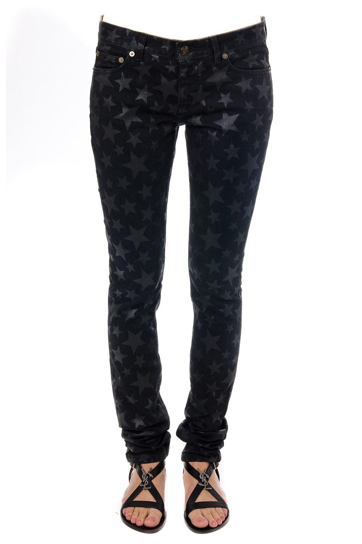 Saint Laurent Stars Print Cotton Denim Jeans