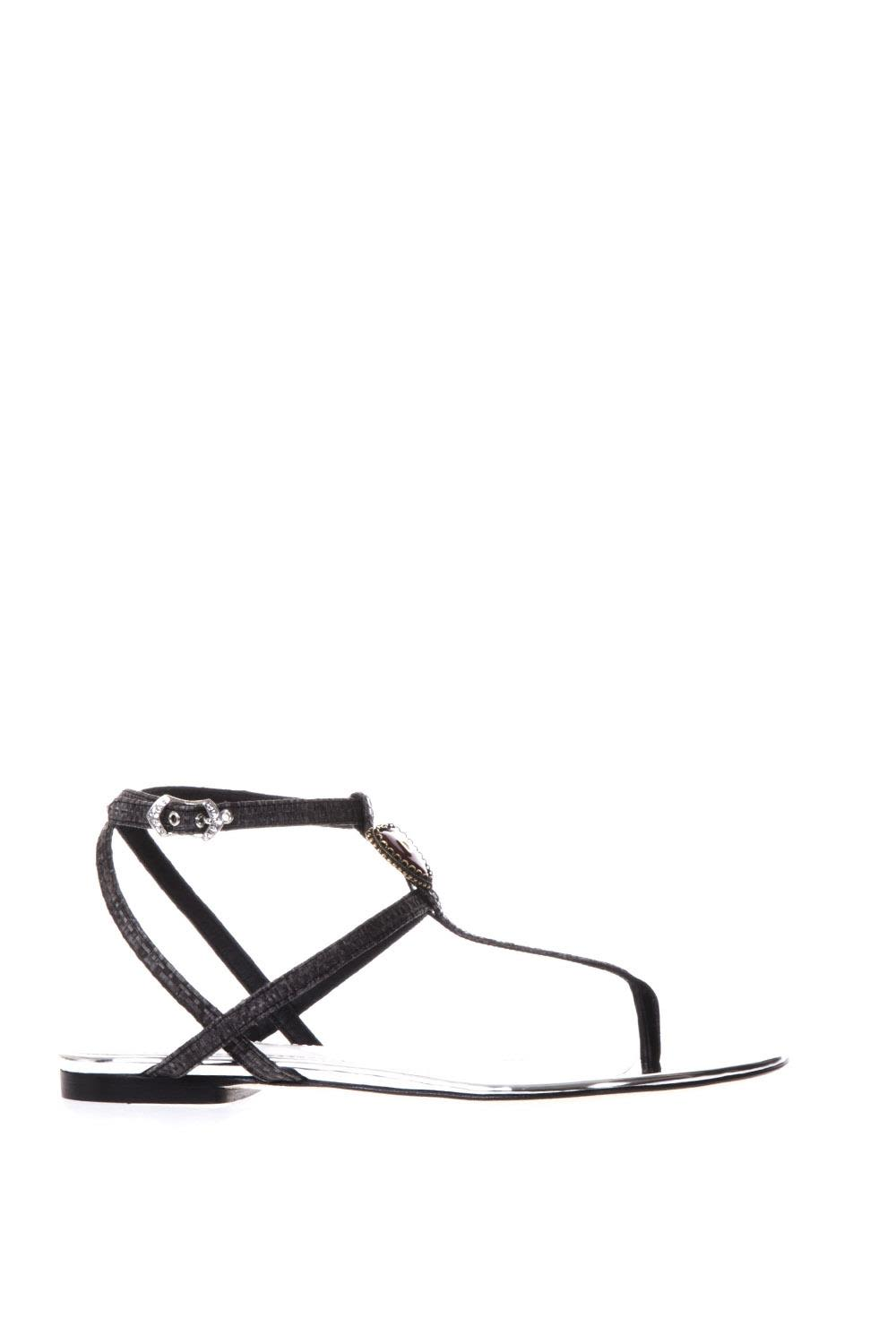 BLACK AND SILVER SANDALS WITH DOLCE & GABBANA LOGO
