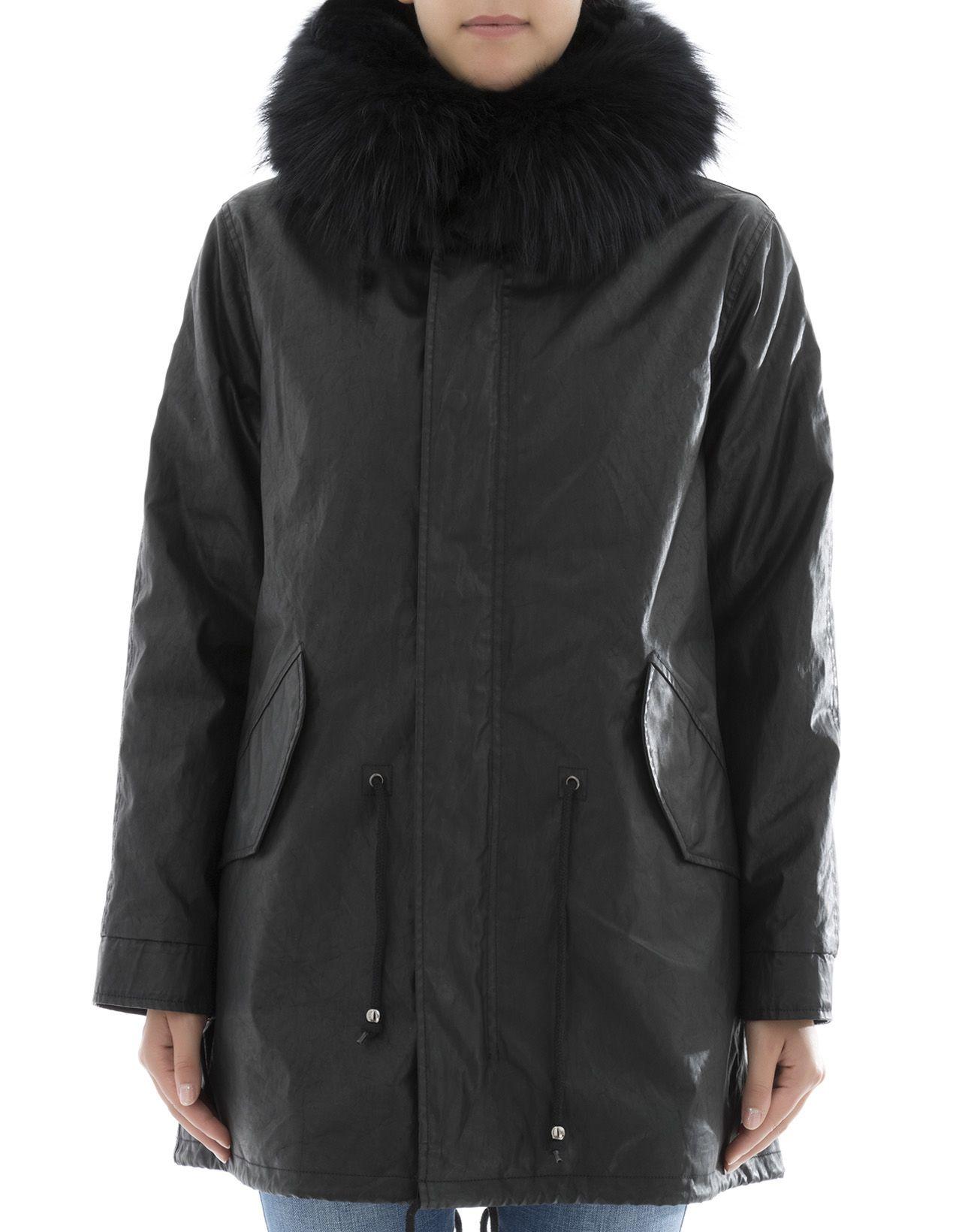 S.W.O.R.D. - Black Leather Parka - Black, Women's Coats & Jackets ...