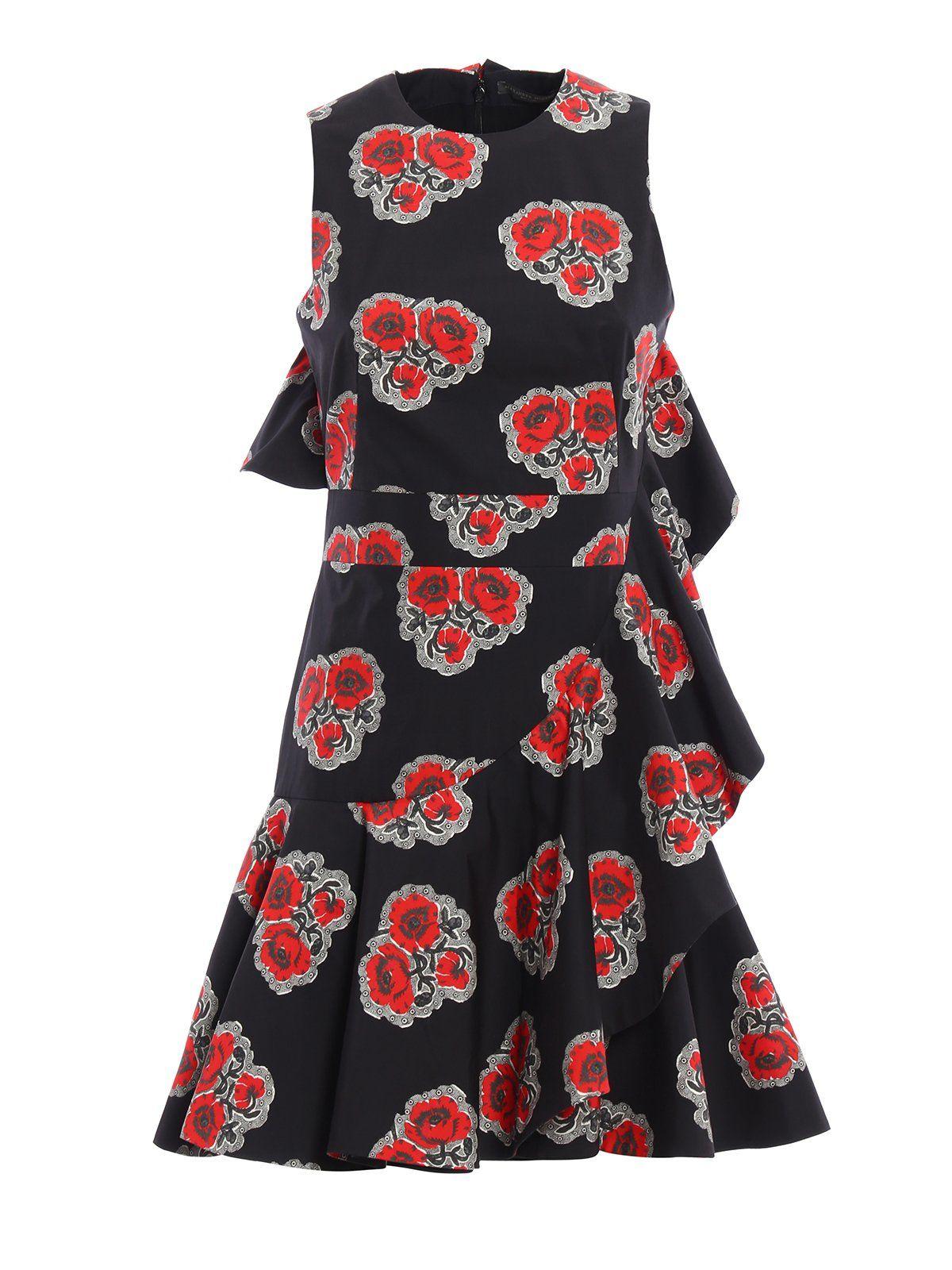 Ruff Print Mini Dress