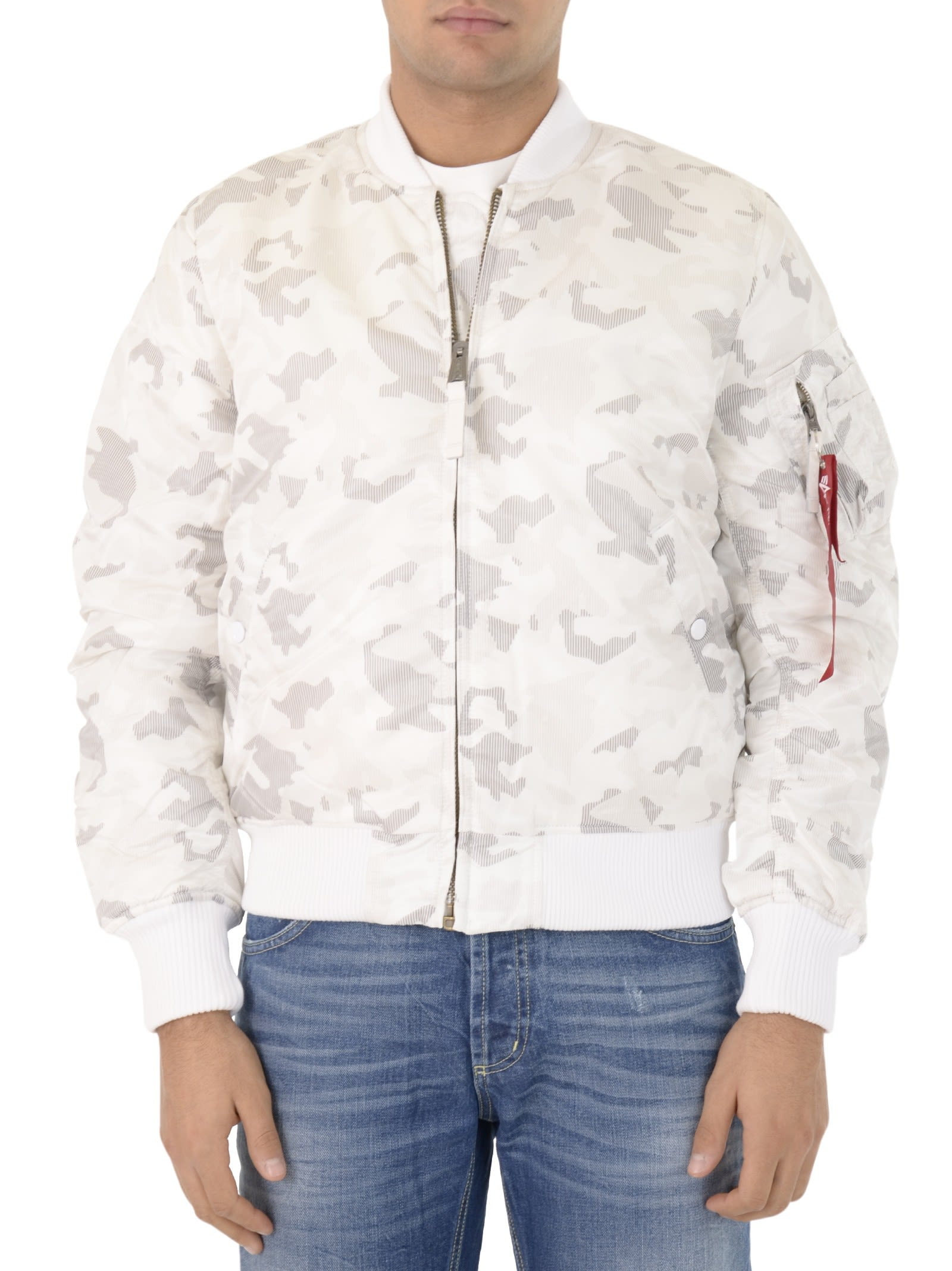 Alpha Industries White Camo Cropped Bomber Jacket