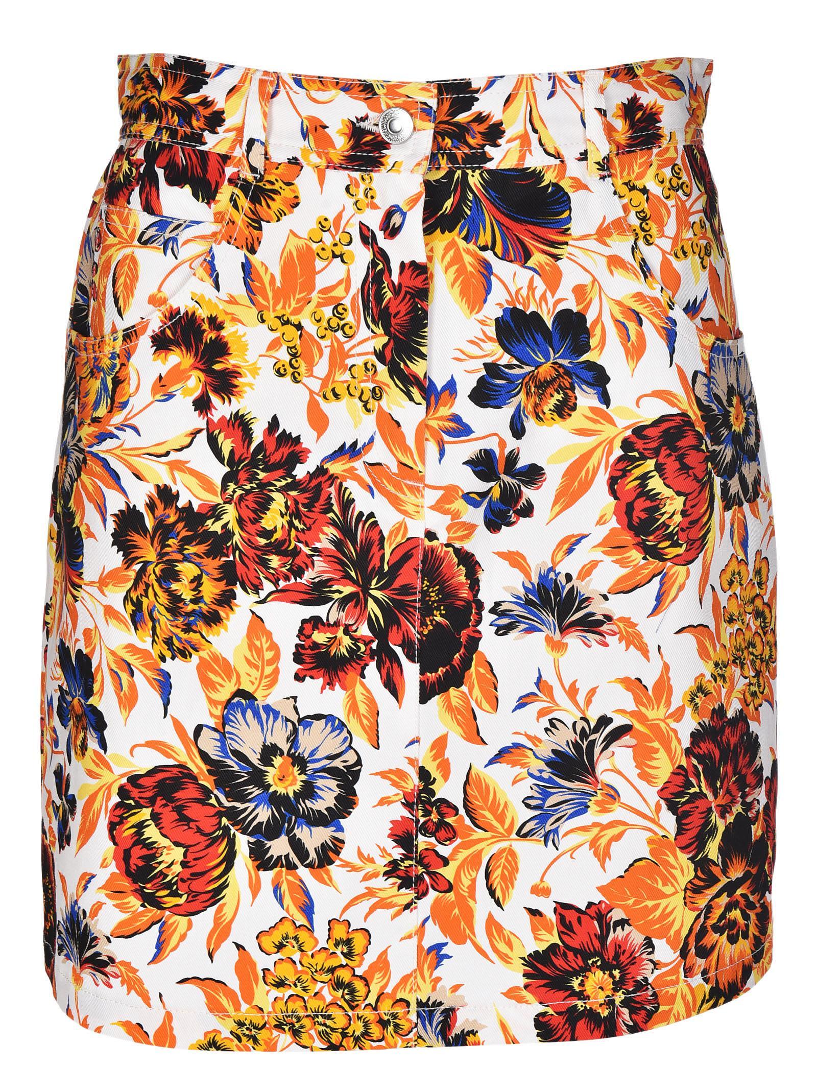 Msgm Floral Print Mini Skirt