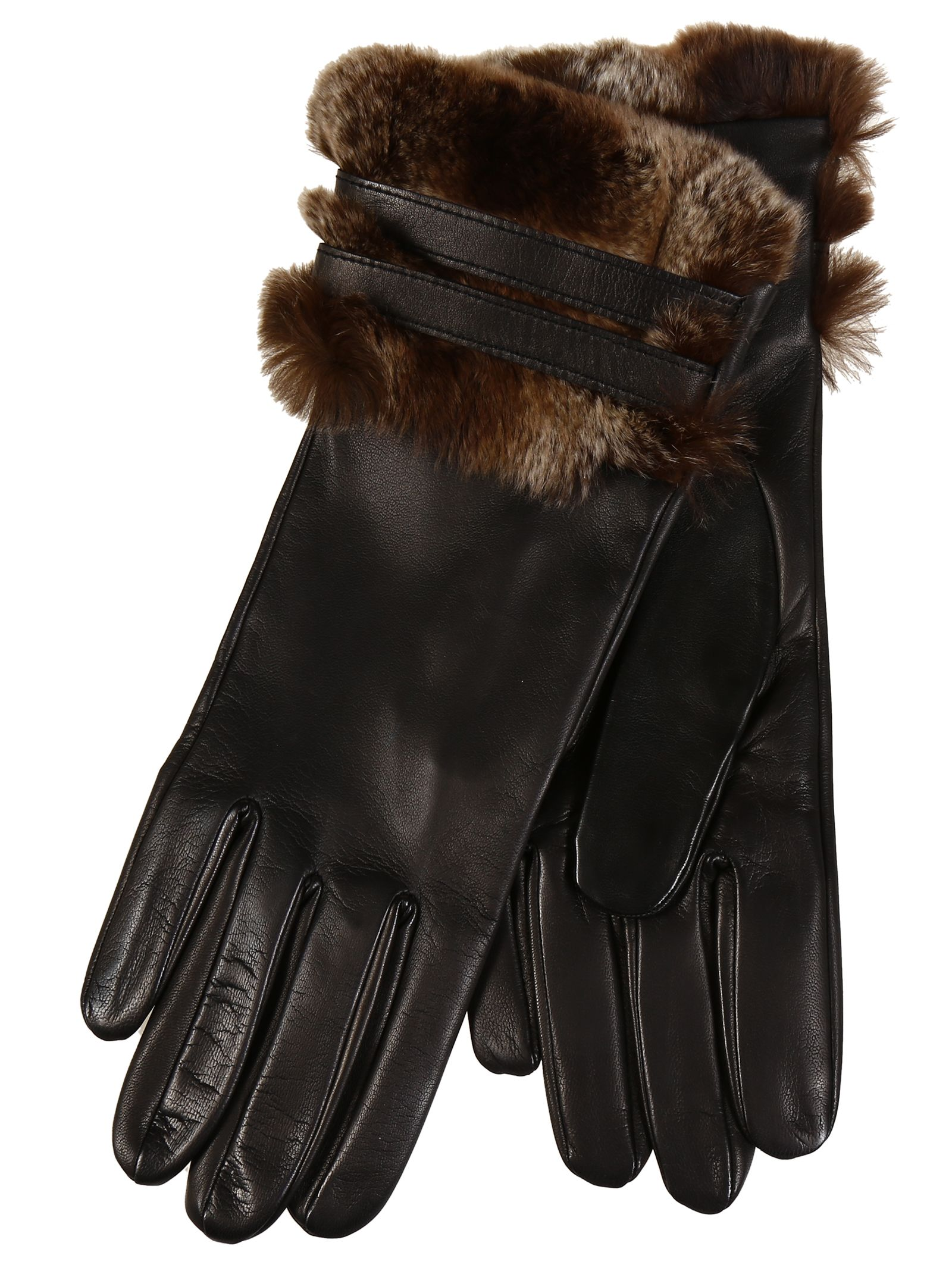 Restelli Nappa Leather Gloves With Fur Cuffs And Leather Belts