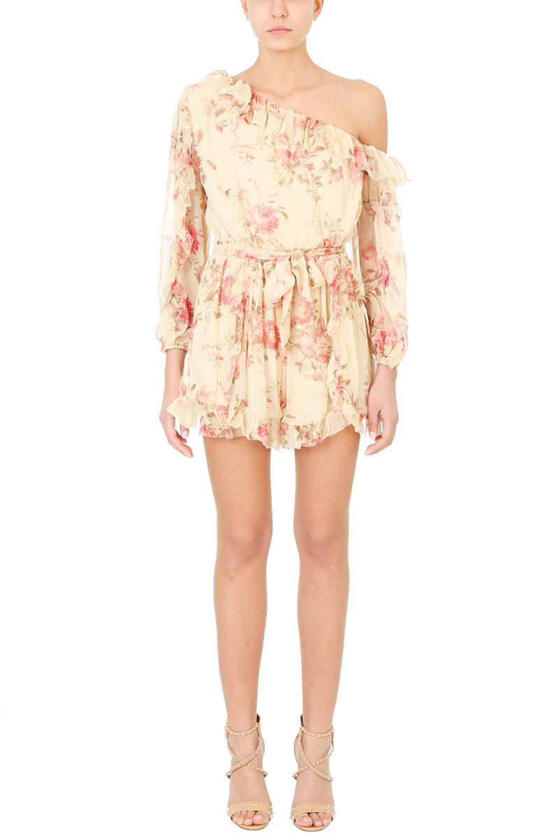 Zimmermann Corsair One Shoulder Floral Playsuit