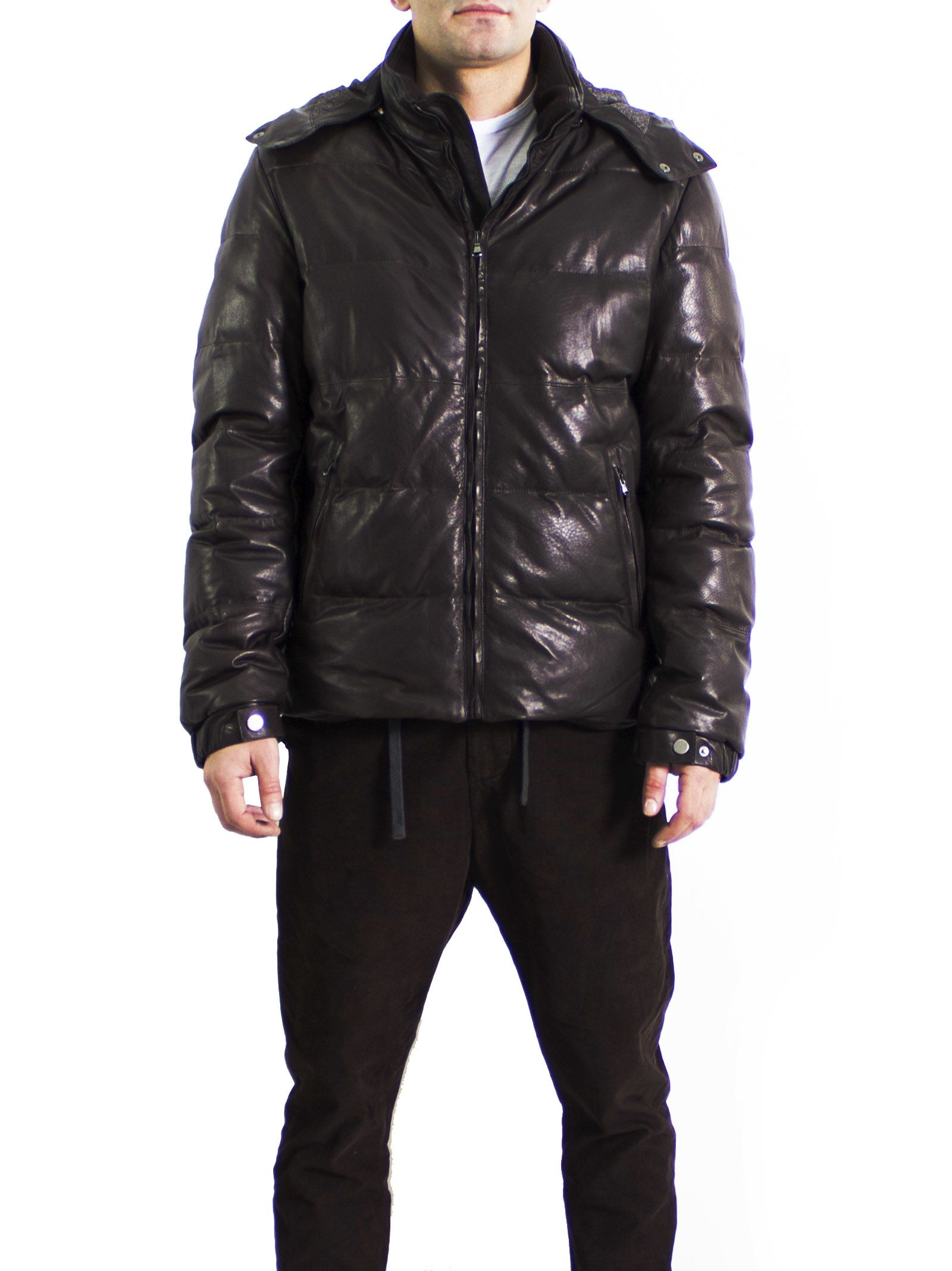 Leather GOOSE DOWN Collection Lamb - Ovis aries Hooded Quilted Parka