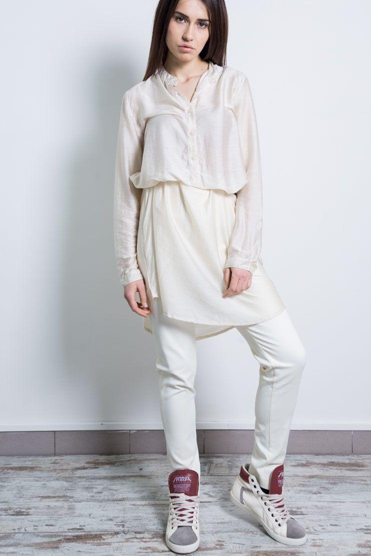 Mixed Modal-Silk Long mandarin collar shirt